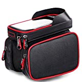 Bike Bag for Cell Phone, Bicycle Front Shelf Large Storage Bag, Waterproof 6.2 inch Touch Screen Mobile Phone Bag,Outdoor Cycling Bicycle Accessories (Red)