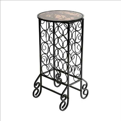 Southern Enterprises Glass Top Wine Table in Black