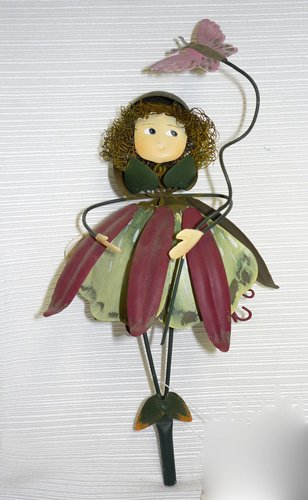 Purple over Green Dress Metal Garden Fairy Gift Stake