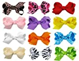 "HipGirl Boutique Girls 12pc 2.5"" Mini Boutique Hair Bow Clips, Barrettes Combo."