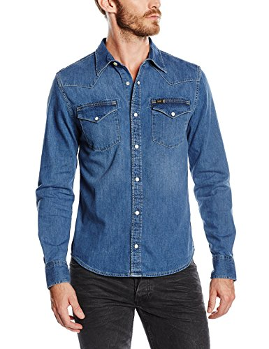 Lee - Lee Western Shirt Blue Stance, Camicia da uomo, stance (stance), L