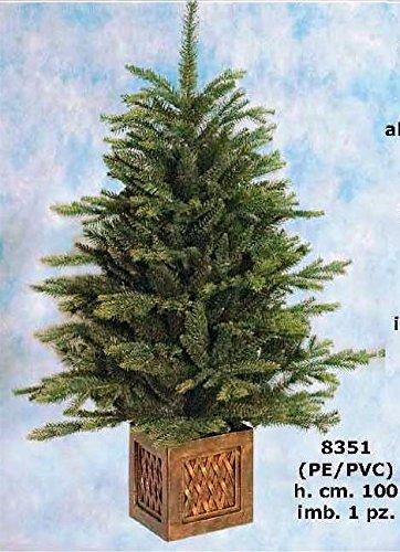 Albero di Natale ecologico con base effetto legno cm 100