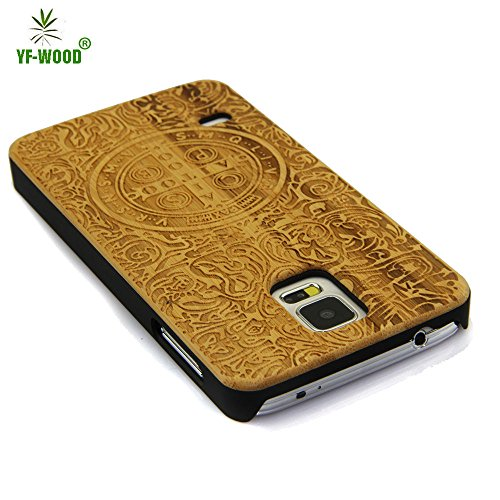 Samsung Galaxy S5 Case,S5 Case,Unique Design Handmade Green Environment Wooden Wood Material [Outside Shell]Bumper Hard Cover Case for Galaxy S5 With PC Material[Frame and inside Shell]Gift Box Packaging With Screen Protector - Bamboo