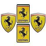 Combo (2 x) Ferrari Badge + (2 x) Ferrari Square Hood Badge Real Aluminum Rare Car Logo Badge Emblem for 512 308 458 599 328 GTS GTO GTB M Dino 612 F430 360 550 355 F1 Spyder Mondial TS Modena F1 Scuderia Spider Challenge Testarossa
