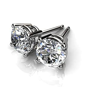 Platinum Gorgeous Classic Four Prong Studs with a Perfectly Matched Pair of Round Brilliant Cut Diamonds Set 3 CTW