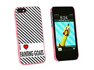 Graphics and More I Love Heart Fainting Goats Snap-On Hard Protective Case for iPhone 5/5s - Non-Retail Packaging - Pink