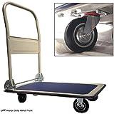UPT Platform Truck Push Cart - Folding Collapsible Warehouse Retail Store Shopping Dolly - 330 Lbs Capacity Metal Wheels