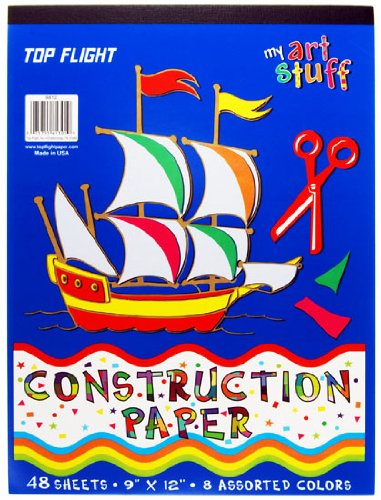 Top Flight Construction Paper Tablet, Book of Colors, 9 x 12 Inches, 48 Sheets, Polywrapped (61301) - 1
