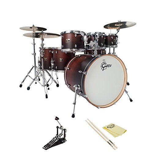 Gretsch Catalina Maple Satin Walnut Fade (Cmt-E826P-Swf) 7-Pc Shell Pack W/ Ddrum Rxp Foot Pedal, Chromacast 5A Drumsticks And Godpsmusic Polish Cloth