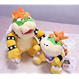 """Super Mario 6.5"""" Bowser Jr. And 10"""" Standing Bowser Koopa King Character Stuffed Plush Toy Figure Kids Gift"""