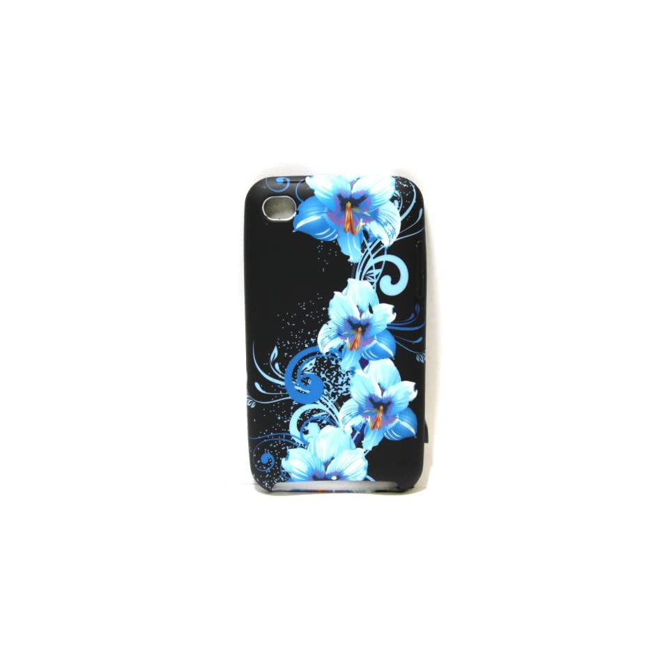 Black with Blue Flower Art Soft Silicone Skin Gel Cover Case for Apple Ipod Touch 4 / 4th / 4G / itouch Gen Generation 8GB 32GB 64GB  Case