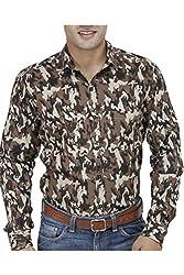 Unixx Men's Casual Shirt (UN65_Brown_42)