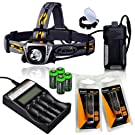 Fenix HP30 900 Lumen CREE XM-L2 LED Headlamp with Fenix ARE-C2 four bays advanced digital battery charger, 2 X Fenix 18650 ARB-L2S 3400 mAh rechargeable batteries and Four EdisonBright CR123A Lithium batteries