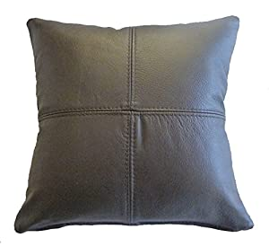 Real Leather Scatter Cushion 37cm x 37cm - Brown - COMPLETE WITH HOLLOW FIBRE FILLED INNER