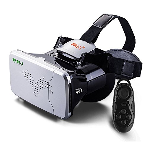 VIGICA RIEM III 3D VR Virtual Reality Headset Immersive VR Glasses 3D Video Movies and Games Goggle Cardboard with Bluetooth Remote Gaming Controller for 3.5-6.0 inch iPhone Android Smartphones
