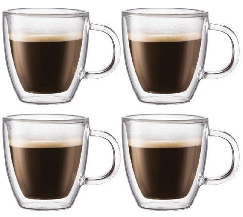 Bodum Bistro Double-wall Insulated 10-ounce Glass Mug - (Set of 4) (Bodum Chambord Milk compare prices)