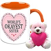 Mug For Sister - HomeSoGood World's Okayest Sister White Ceramic Coffee Mug With Teddy - 325 Ml