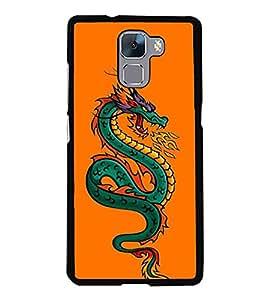 Dragon 2D Hard Polycarbonate Designer Back Case Cover for Huawei Honor 7 :: Huawei Honor 7 Enhanced Edition :: Huawei Honor 7 Dual SIM