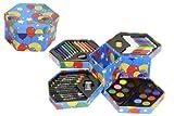 Childrens-52-Pcs-Craft-Art-Artists-Set-Hexagonal-Box-Crayons-Paints-Pens-Pencils