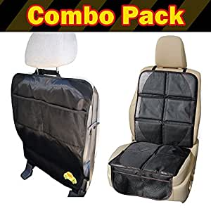 PoppyTootToot Child Car Seat Protector Mat PLUS Car Kick Mat Organizer Auto Combo Pack - Completely Protect the Back Seats - Get 2 Protectors for One Price and Works in Any Vehicle - Lifetime Warranty