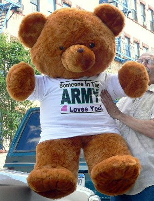 JUMBO 4-FEET-TALL BROWN TEDDY BEAR WEARING SOMEBODY IN THE ARMY LOVES YOU T-SHIRT