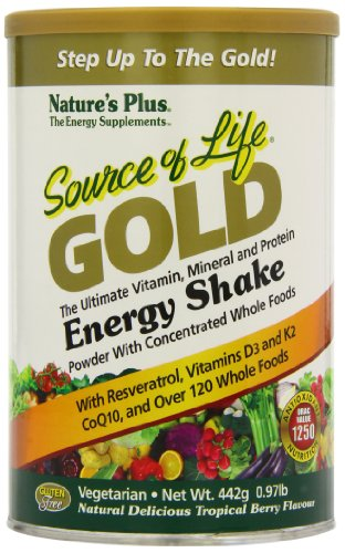 Natures Plus - Souce Of Life Gold Energy Shake Ultimate Vitamin Mineral & Protein Natural Delicious Tropical Berry Flavor - 0.97 lbs