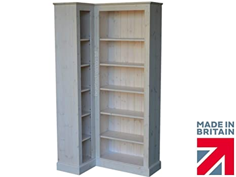 Solid Pine Corner Bookcase, 6ft Tall Handcrafted & White Washed Adjustable Display Shelving, Bookshelves. Choice of Colours (CBK2)