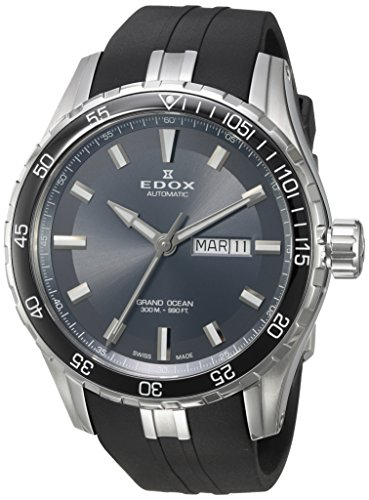 Edox-Mens-Grand-Ocean-Swiss-Automatic-Stainless-Steel-and-Rubber-Diving-Watch-ColorBlack-Model-88002-3CA-NIN
