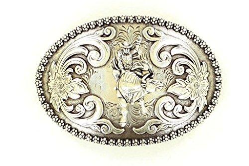 Nocona 3707241 Bull Rider w/Scroll Buckle Antique Silver