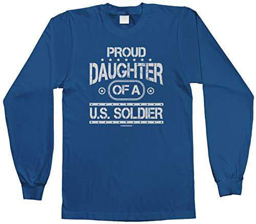 Threadrock Big Girls' Proud Daughter Of A U.S. Soldier Youth Long Sleeve T-Shirt L Roy... front-1031395