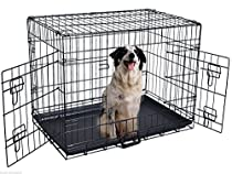 ALEKO 24 Inch 2 Doors Folding Suitcase Dog Cat Crate Cage Kennel With ABS Tray