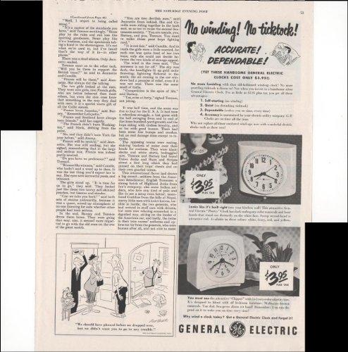 General Electric No Winding No Ticktock Alarm Clocks 1950 Antique Advertisement