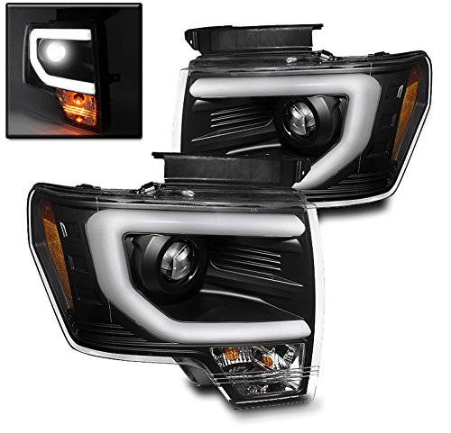 ZMAUTOPARTS Ford F150 Pickup Truck DRL Bar Strip Projector Headlights Lamp Black Pair (Hid Headlights For Trucks compare prices)