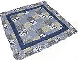 中綿入り キルト マルチカバー ホットカーペットカバー 正方形 ブルー系 約190×190cm リバーシブル