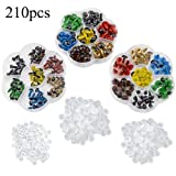 TOVOT 210 PCS Colorful Safety Eyes 8 mm- 12 mm Diameter with Washer for Bear, Doll, Puppet, Plush Animal (Color: Red,Brown,Blue,Yellow,Golden,Clear)