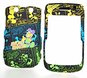Disney Mickey Mouse Yellow Blue and Green Comic Strip Rubber Texture Snap on Cell Phone Case for Blackberry 9700 Onyx / 9780 Bold + Microfiber Bag