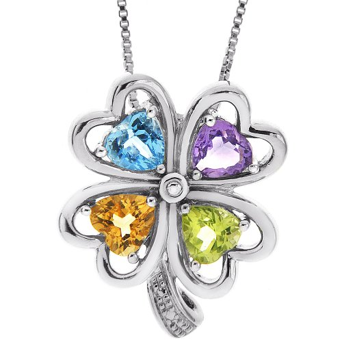 Sterling Silver Multi Color Semi Precious Clover Pendant Necklace , 18