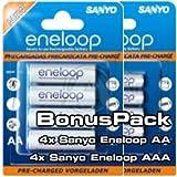 """Sanyo eneloop Kombipack 4x AA Mignon + 4x AAA Micro Batterienvon """"Sanyo eneloop"""""""