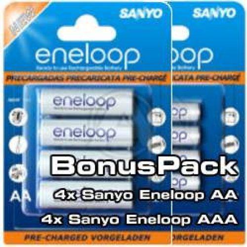 Sanyo eneloop Kombipack 4x AA Mignon + 4x AAA Micro Batterien