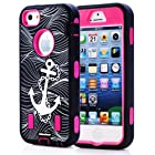Oksobuy® Stylish Atmosphere White Pattern Deluxe Hard Soft High Impact Armor Case Combo for Apple Iphone 5