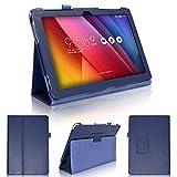 wisers タッチペン・保護フィルム付 ASUS ZenPad 10 Z300CL Z300C Z300CNL Z300M , for Business 10 M1000C タブレット 専用 ケース カバー ダークブルー
