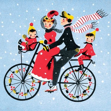 Bike Ride Pack of 10 Christmas Cards (Square)||RF10F