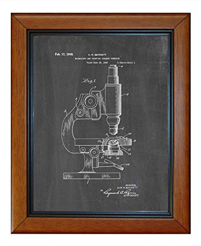 """Microscope And Counting Chamber Patent Art Chalkboard Print In A Honey Glazed Wood Frame (11"""" X 14"""")"""
