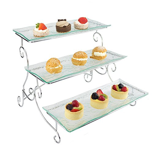 Ornamental 3 Tier Server - Tiered Serving Platter Stand & Trays - Perfect for Cake, Dessert, Shrimp, Appetizers & More (Pedestal Bowl Glass Sink compare prices)