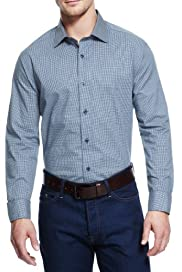 Pure Cotton Mini Checked Slim Fit Shirt [T25-3292A-S]