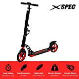 Xspec 922 Foldable Adult Kick Street Scooter with Full Suspension and Rear Wheel Braking System, Supports 220 lbs, City Urban Commuter Street Push Scooter, Matte Black and Red