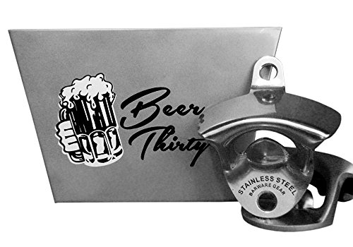 Barware Gear Bundle - 2 Items: Stainless Steel Wall Mounted Bottle Opener with Stainless Steel Beer Thirty Wall Mounted Cap Catcher