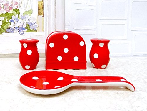 Red Polka Dot Ceramic Table Top Set
