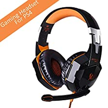 buy [Latest Version Gaming Headset For Ps4] Versiontech Kotion Each G2000 Usb 3.5Mm Game Gaming Headphone Headset Earphone Headband With Mic Stereo Bass Led Light For Ps4 Pc Computer Laptop Mobile Phones - Orange