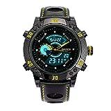 BINZI メンズ腕時計 ミリタリー,カジュアル 多機能 防水 レザーバンド アナログ表示 日付 1609 ブラックきいろ